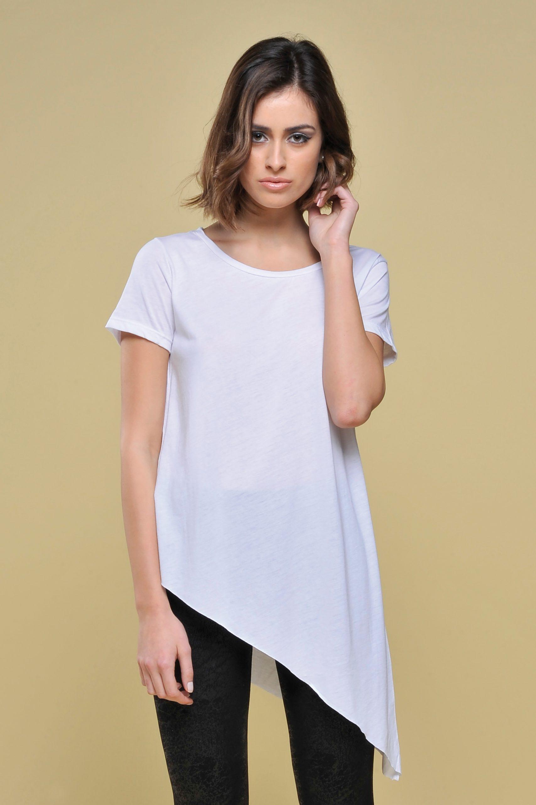 t-shirt donna asimmetrica